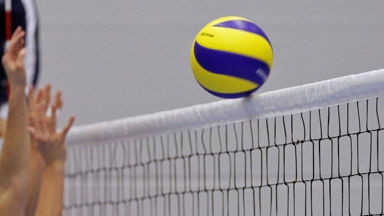 Volleyboll på väg över nätkanten. Foto: Valdemar Andersson/Sveriges Radio