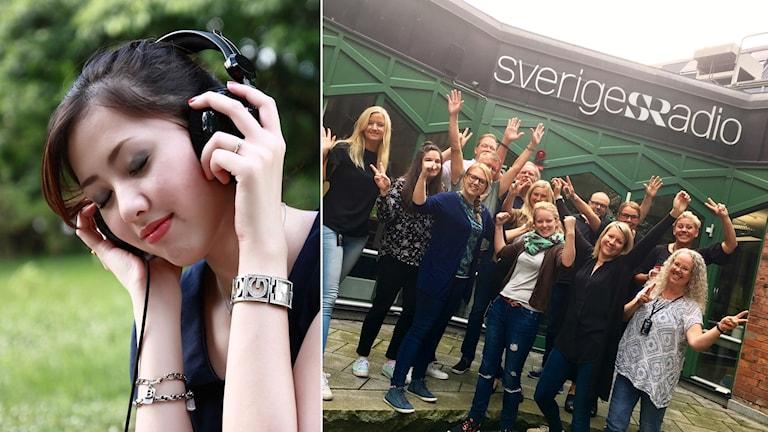 Person lyssnar på radio. Personal på P4 Jönköping
