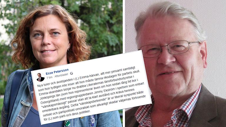 Emma Carlsson Löfdahl, Esse Pettersson och en skärmdump av Esses inlägg på Facebook.