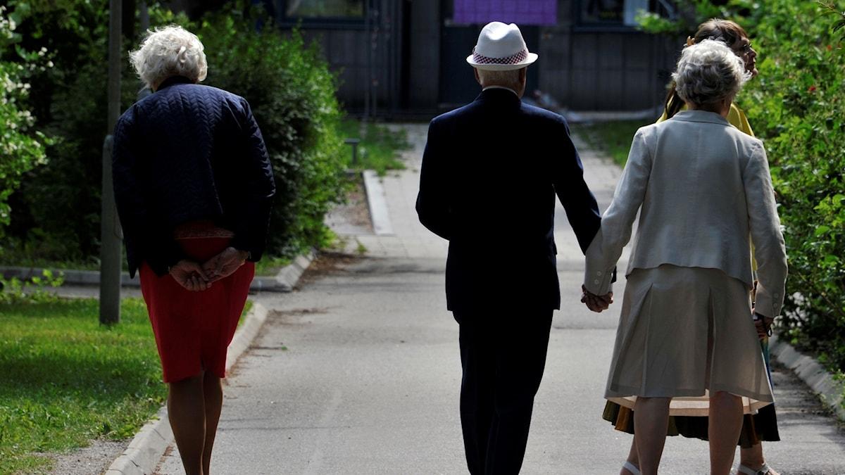 Äldre människor på promenad. Foto: Hasse Holmberg/TT.