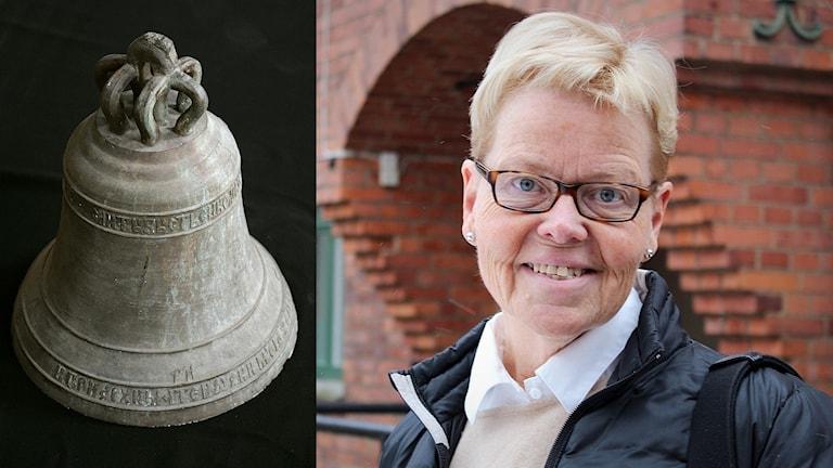En kyrkklocka och kyrkoherde Ann Aldén. Foto: Henrik Montgomery/TT Nyhetsbyrån, Joséphine Simar/Sveriges Radio.