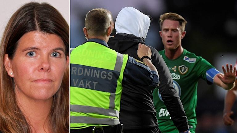 Åklagare Pernilla Törsleff samt huligan Stadsparksvallen.