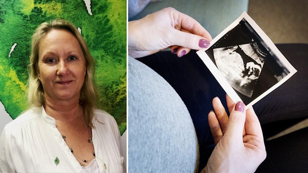 Till vänster bild på en kvinna, till höger en bild på ett ultraljud.