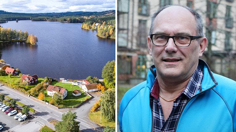 En flygbild över en sjö och några hus och en bild på Bengt Ljunggren.