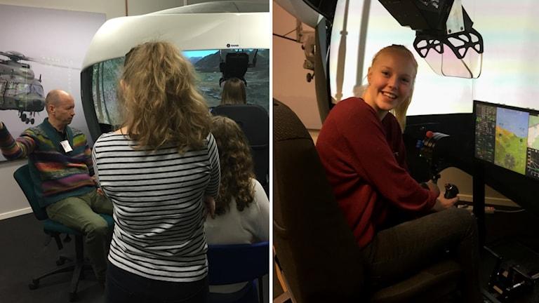 Alvina Öhrlund och hennes klasskompisar provar på flygsimulatorn.