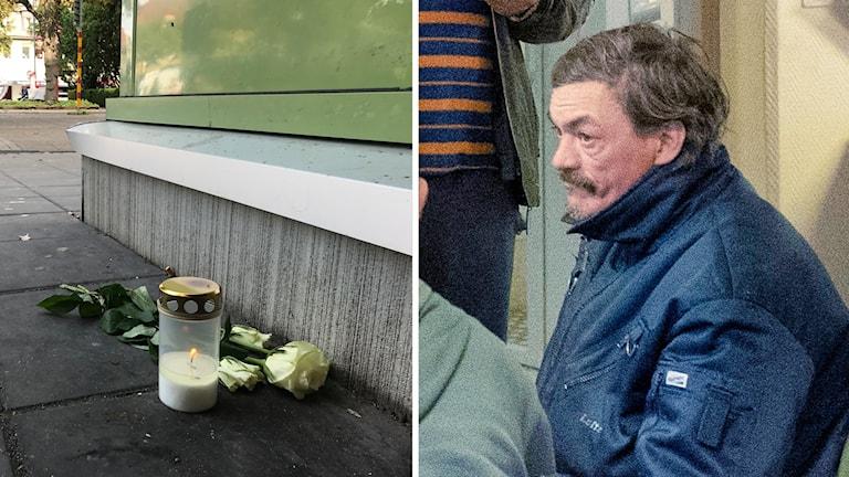 En bild på ljus och blommor på marken och en bild på en man i blå jacka.