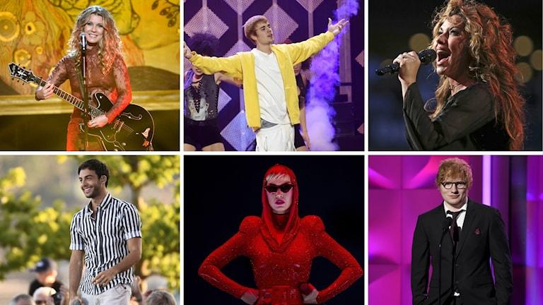 Pernilla Andersson, Justin Bieber, Shania Twain, Darin, Katy Perry och Ed Sheeran.