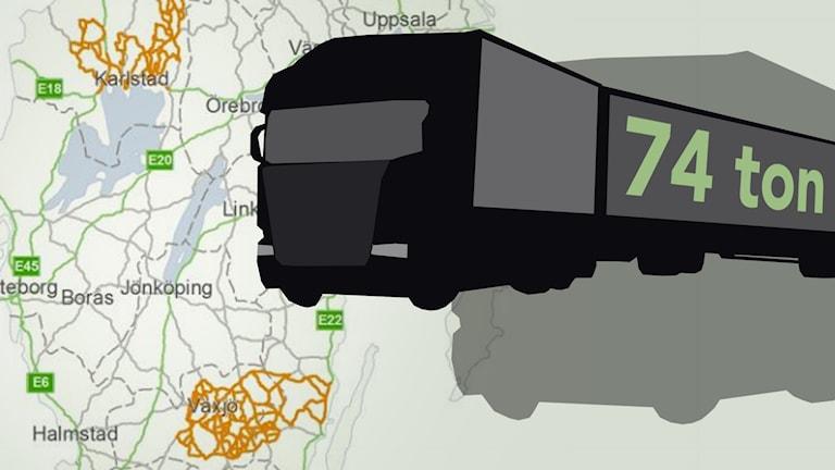Lastbil med texten 74 ton.