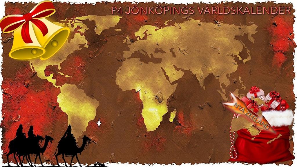 Julpyntad världskarta med pil som pekar på Nya Zeeland