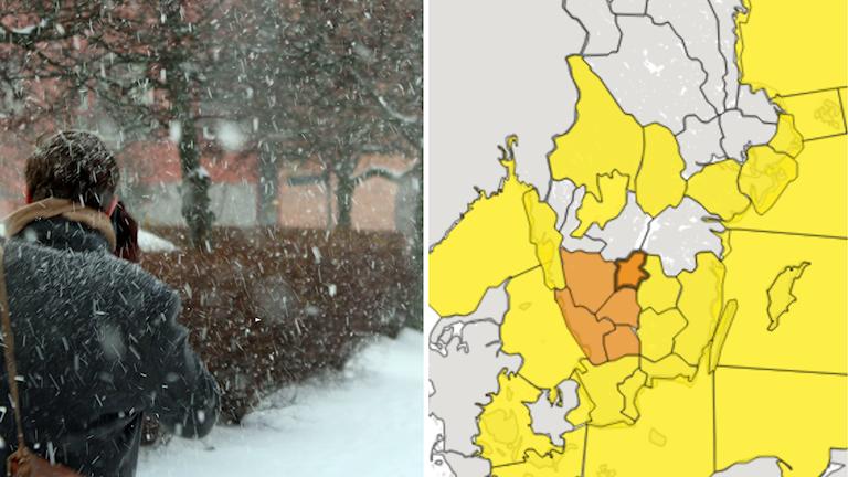 En montagebild över en person som går i snöväder och en väderkarta från SMHI.