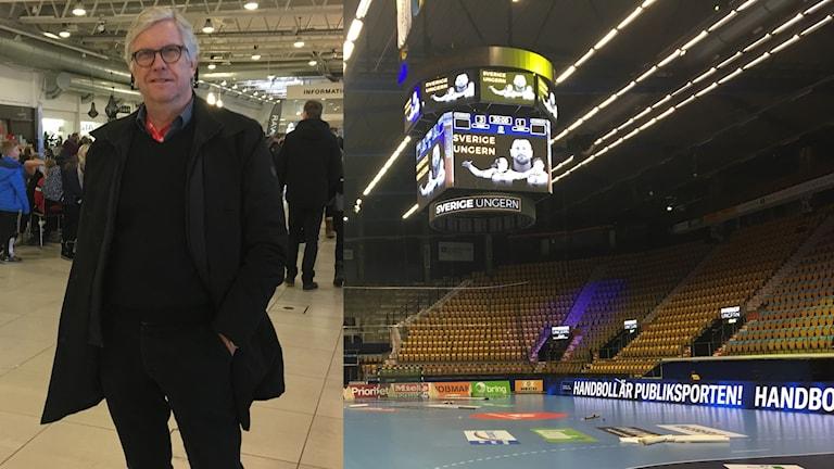 Calle Tholén och handbollsförberedd Kinnarps arena 6 januari 2018. Foto: Therese Edin/Sveriges Radio.