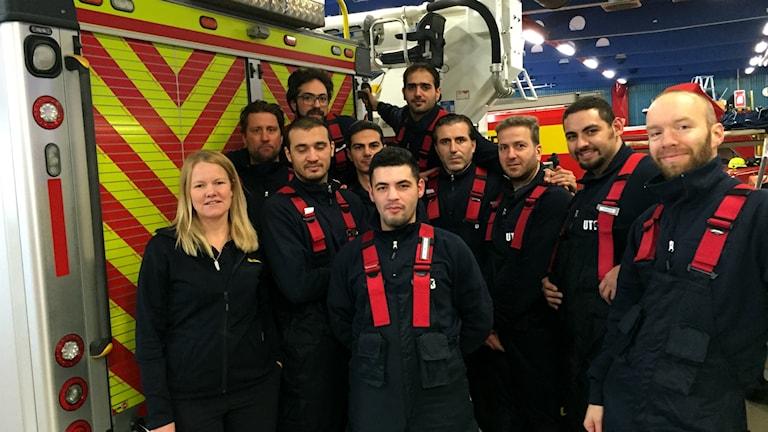 Nya brandmän som utbildas i vetlanda.