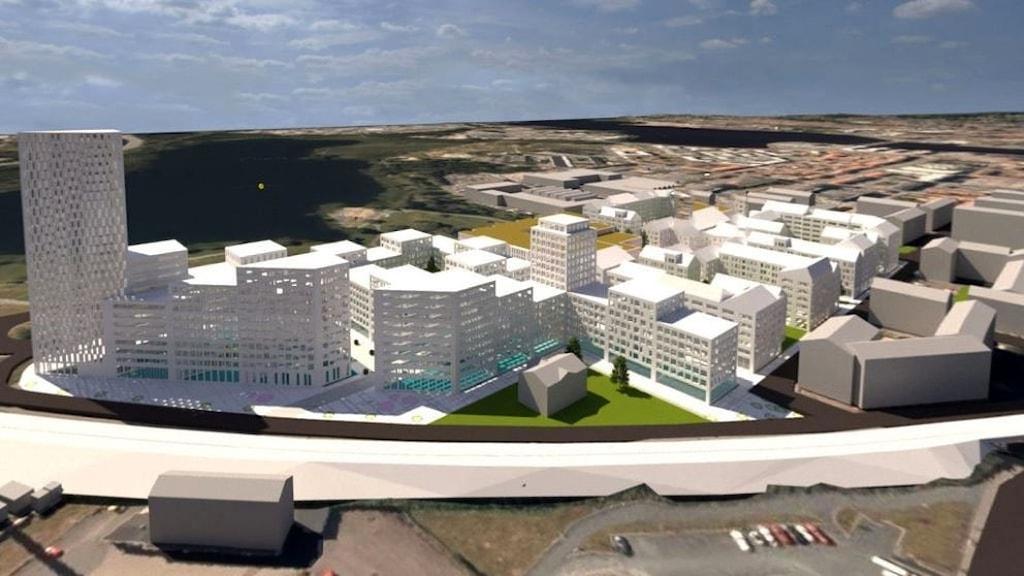 Bild över den tänkta nya stadsdelen i Jönköping. Foto: Skanska.