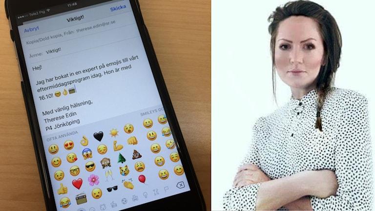 En montagebild på en telefon och Tina Gardestrand.
