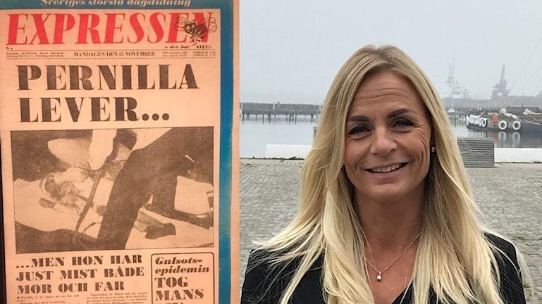Pernilla Nordén och Expressens löpsedel från 15 november 1976. Foto: Nils Lolk.