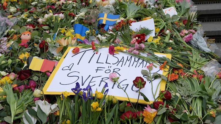 Tyst minut ceremoni attentatet i Stockholm Blommor