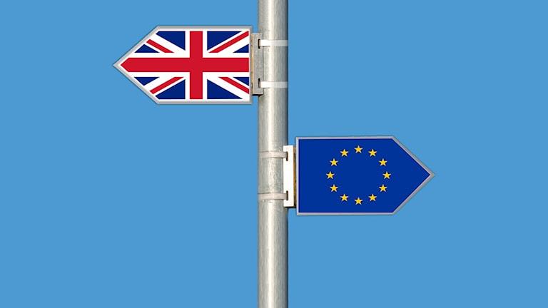 Skyltar, Storbritannien och EU.