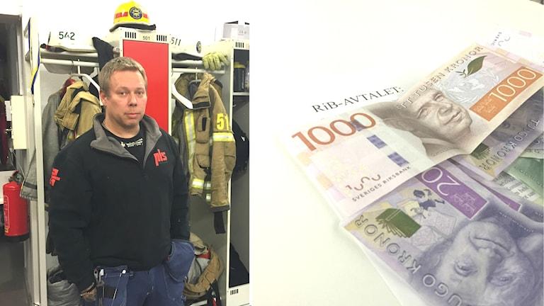 Det nya avtalet för deltidsbrandmän innebär för Robert Östlunds del flera tusen kronor mindre om året.