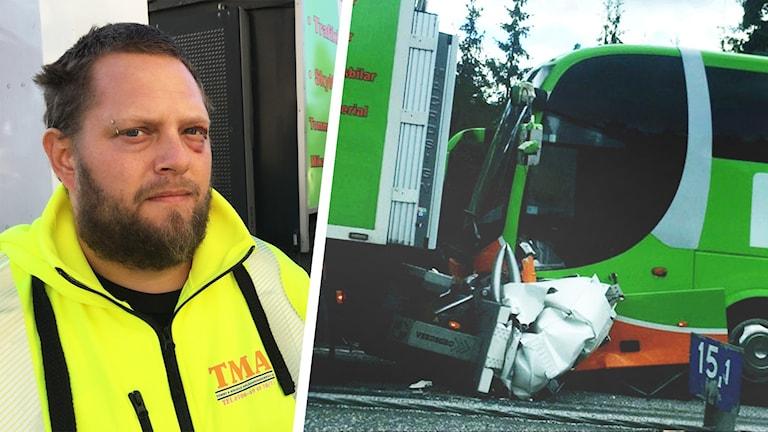 Torbjörn Falkenström och kraschad buss.