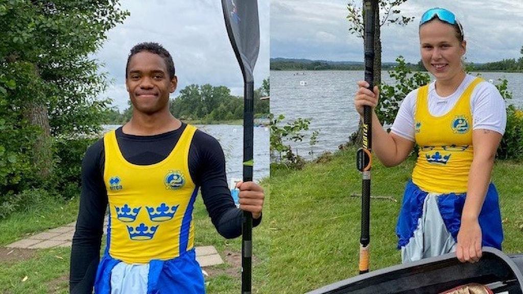 En kille och en tjej som ska tävla i kanot, har landslagskläder på sig. Bilden är ett tvådelat montage.