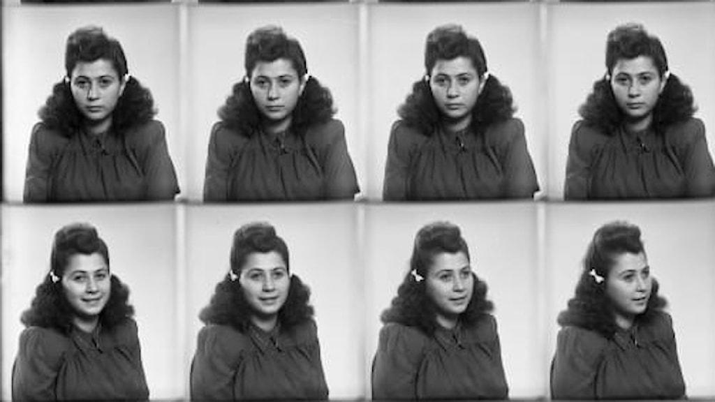 Flera svartvita porträttbilder av en kvinna.