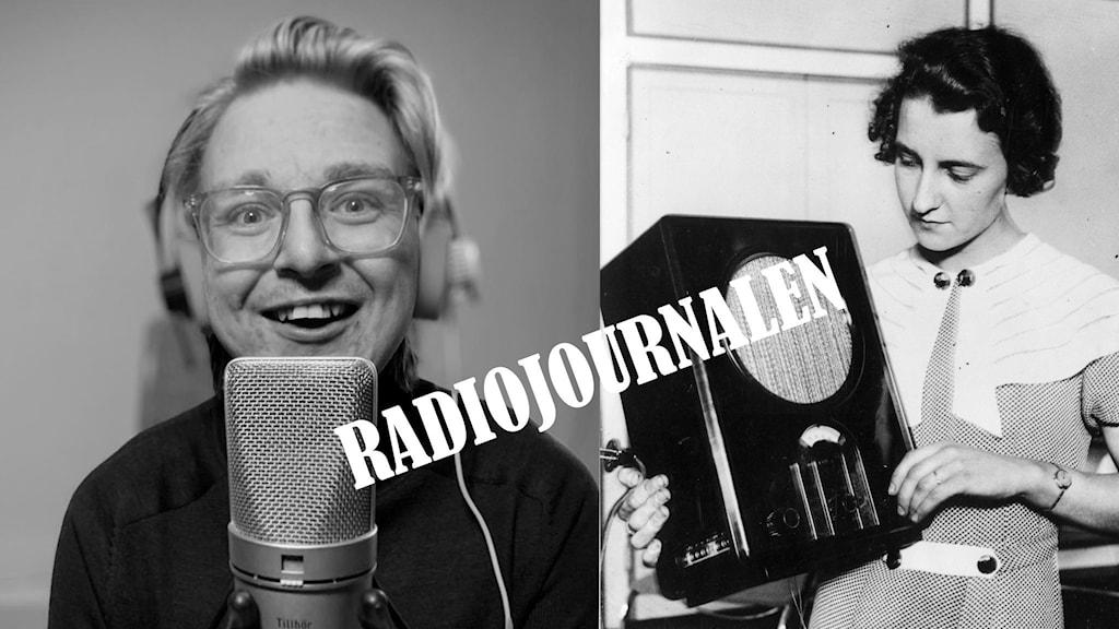 Kollage med man och kvinna som håller i radioapparat.