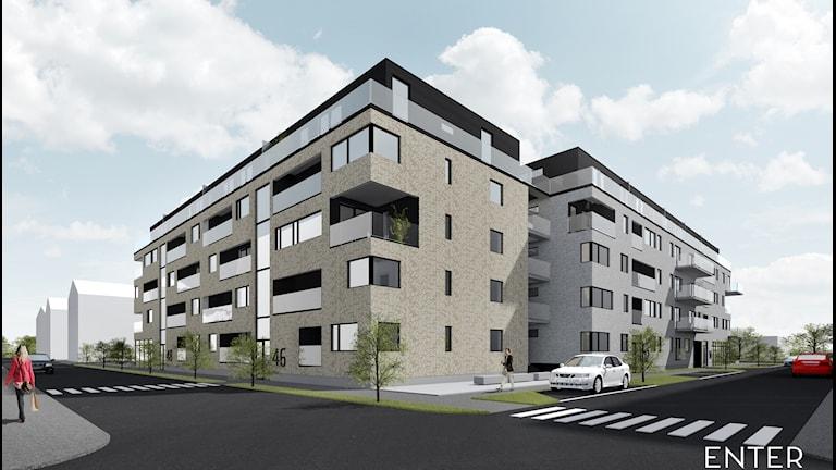 En ritning med två femvåningshus i ett gathörn.