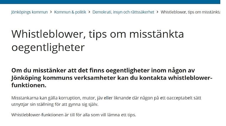 Skärmdump om visselblåsartjänsten från Jönköpings kommuns hemsida.
