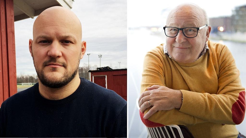 En far och en son i var sin bild.