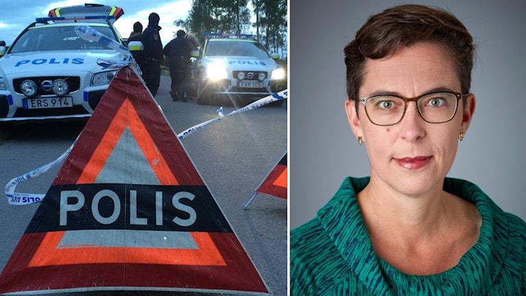 En montagebild över poliser som står på en avspärrad väg och kammaråklagare Helene Gestrin.