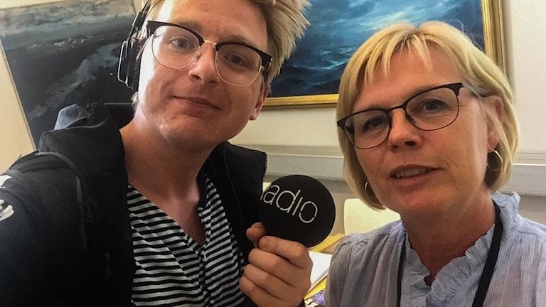 Malte Nordlöf tillsammans med Ann-Marie Nilsson, centerpartistisk kommunstyrelseordförande i Jönköping.