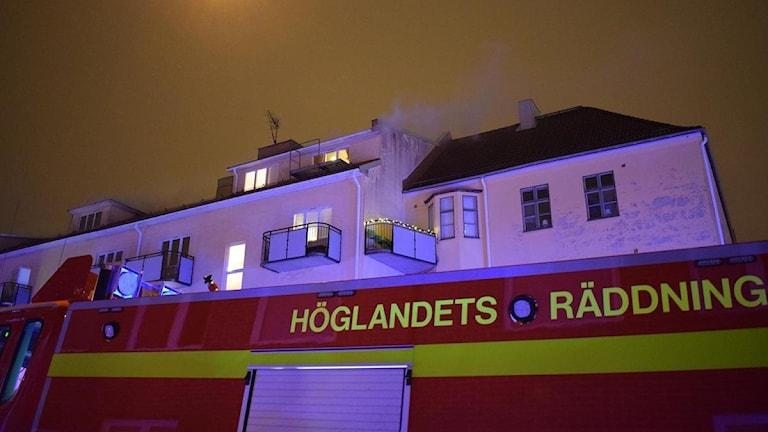 Räddningstjänsten på plats på Storgatan.