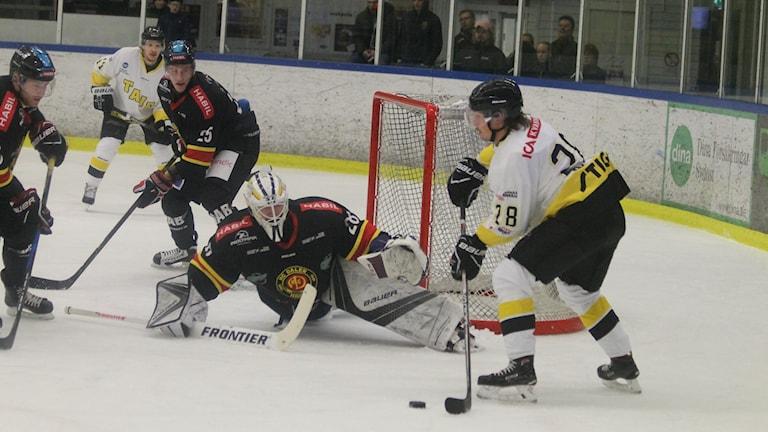 Tranås Victor Jigmalm i bra läge framför Dalens målvakt Anton Svensson.