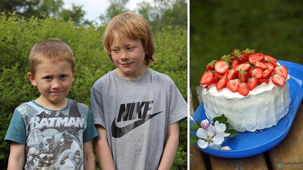 Ludvig och Arvid Wallin, till höger en jordgubbstårta med grädde (montage).