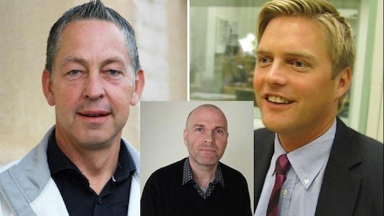 Riksdasgledamöterna Lars mejern Larsson (S), Christian Holm Barenfeldt (M) och Runar Filper