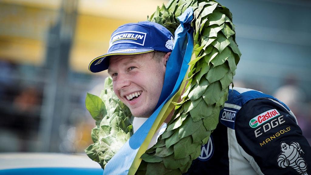 Johan Kristoffersson efter en heatseger i en STCC-tävling på Solvalla.