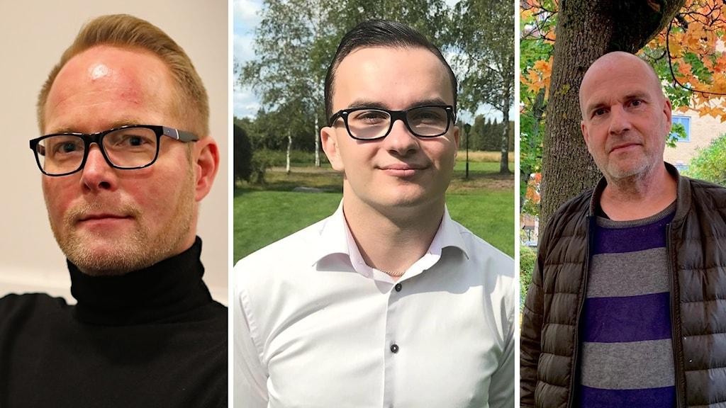 Tre bilder på tre män