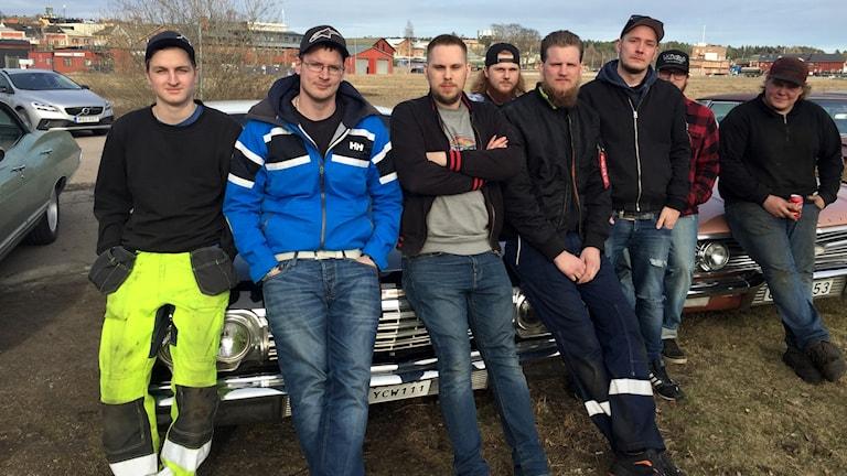 Henric Nylin tillsammans med kamrater i Arvika motorklubb.
