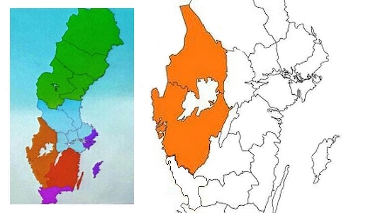 Karta över storregioner.