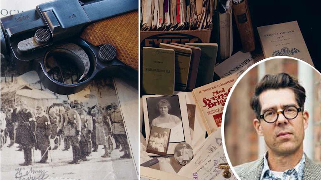 collage med gamla svartvita bilder en pistol och en infälld bild på manlig författre