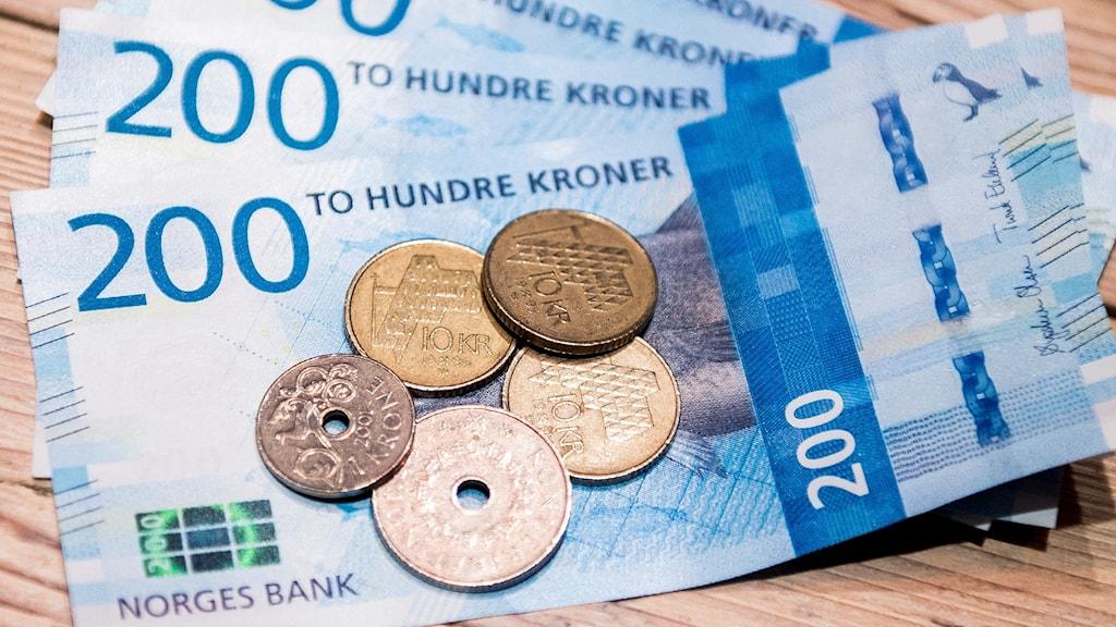 Norska sedlar och mynt. Foto: Jon Olav Nesvold/TT.