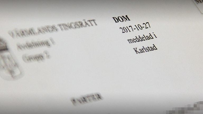 Sidhuvudet på en dom från tingsrätten. Foto: SDveriges Radio.