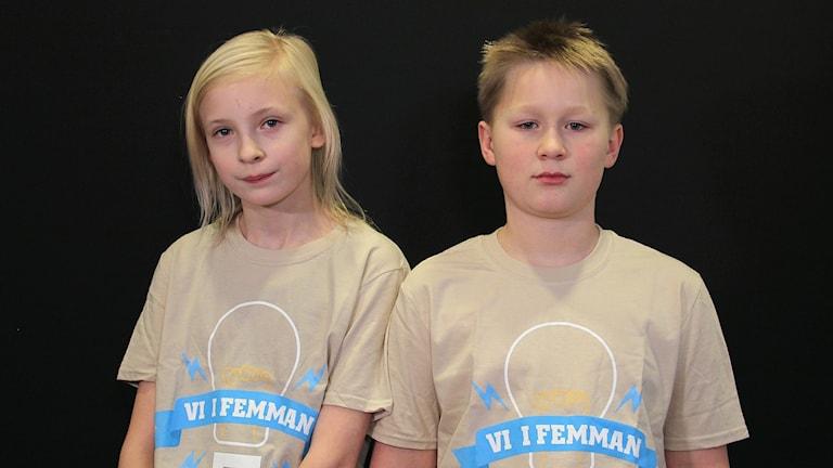 Lisola Knöös och Viktor Carlsson, Engelska skolan 5B. Foto: Lars-Gunnar Olsson/Sveriges Radio.