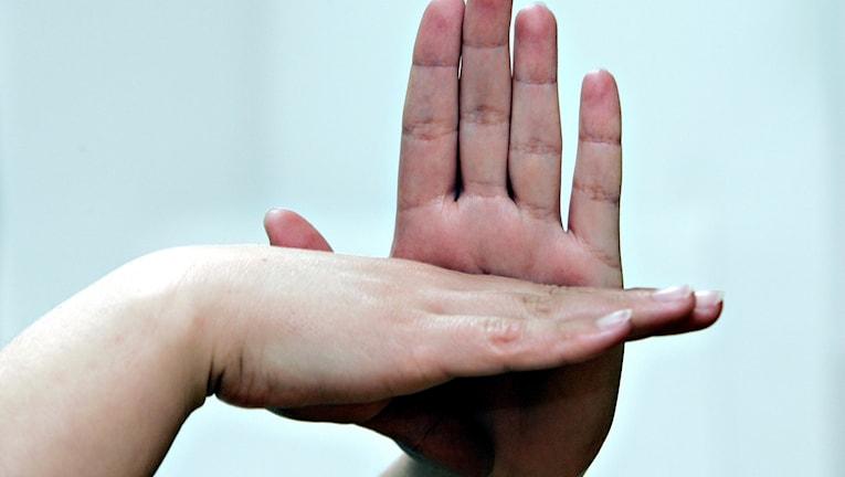 Två händer tecknar ett tecken. Foto: Knut Erik Knudsen/TT.