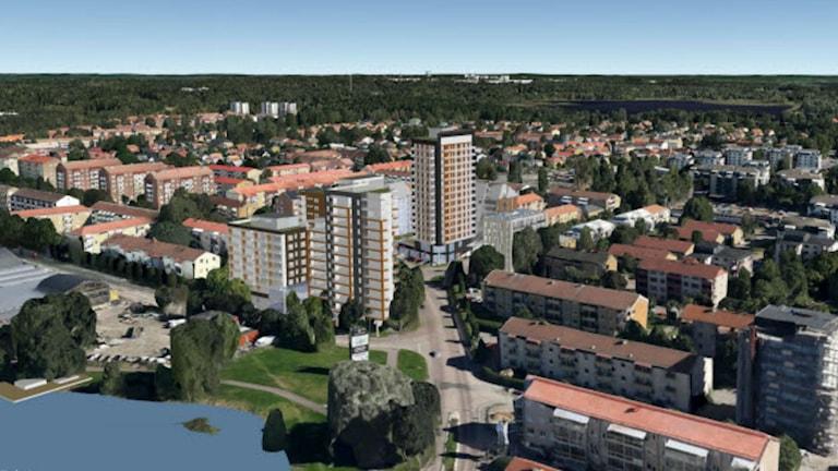 Så här kan Sundsta se ut i framtiden, enligt den nya detaljplanen för Sundsta torg. Foto/skiss: Karlstads kommun.