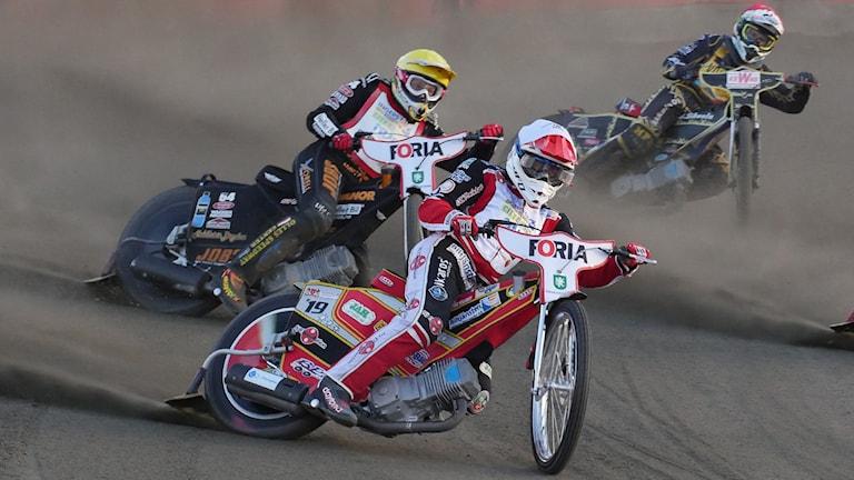 Speedwayförare. Foto: Isak Olsson/Sveriges Radio.