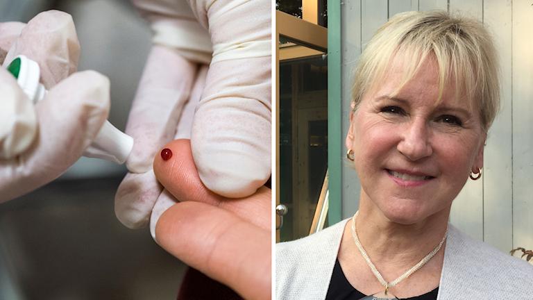 Ett blodprov och en bild på Margot Wallström. Foto: Claudio Bresciani/TT och Sveriges Radio.