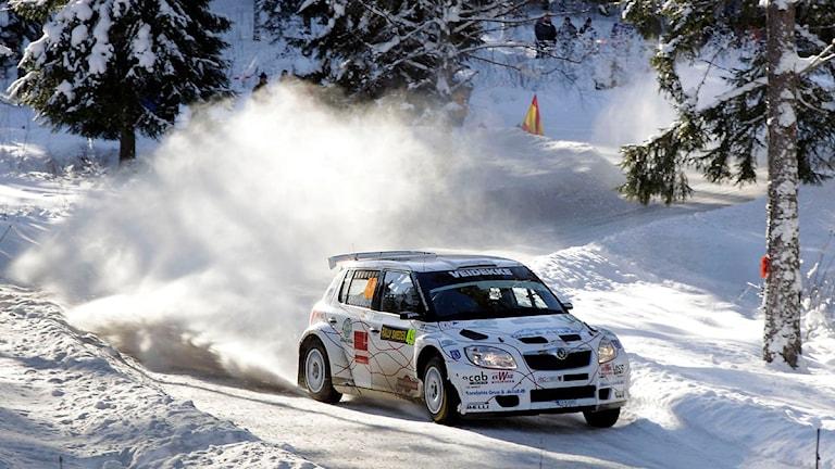 PG Anderssons Skoda vid Rally Sweden 2010, då serviceplatsen fortfarande låg i Hagfors. Foto: Micke Fransson/Scanpix