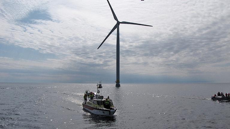 Vindkraftverk Gässlingegrundet. I förgrunden syns en båt. Foto: Roy Malmborg/Sveriges Radio.