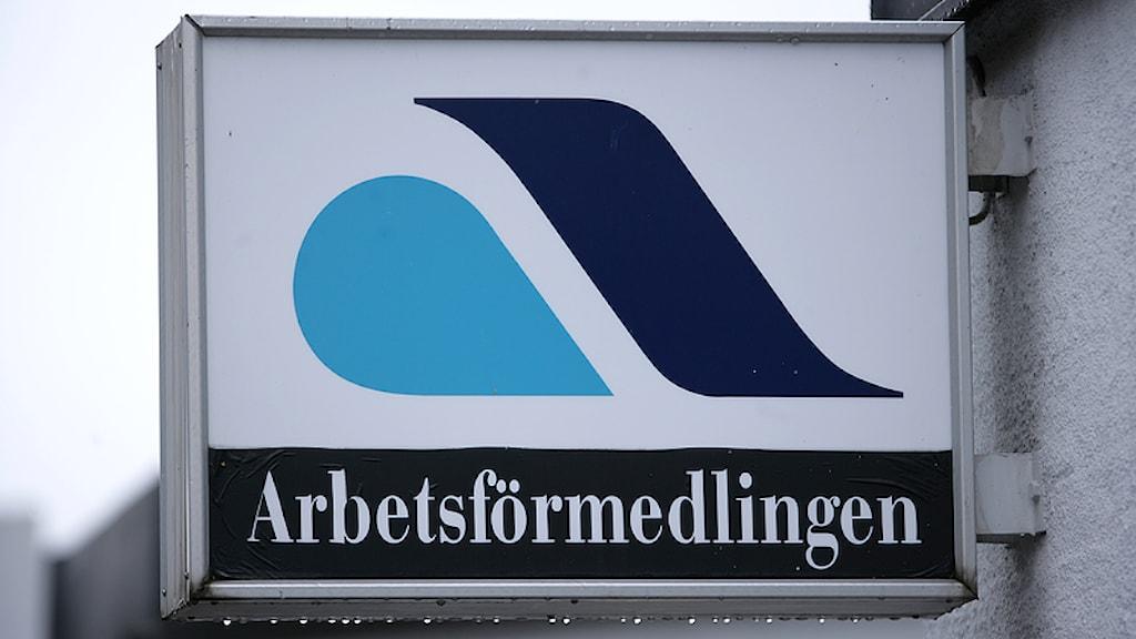 Skylt till Arbetsförmedlingen. Foto: Fredrik Sandberg/Scanpix.